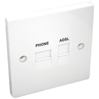 Telephone extension socket with ADSL filter output
